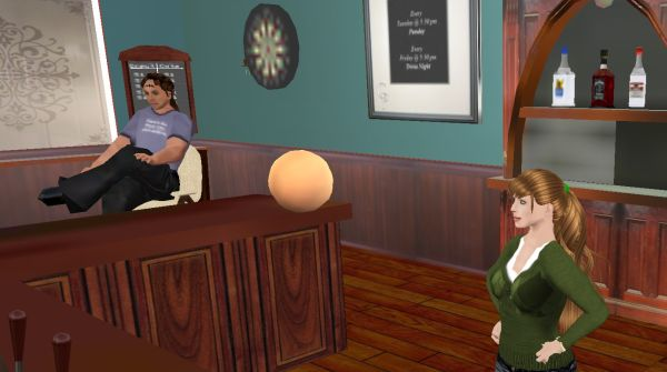 Dianna Muircastle, with her RL/SL husband Talvin, at Callahan's Place