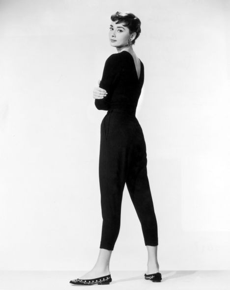 Audrey Hepburn in Capri pants and flats