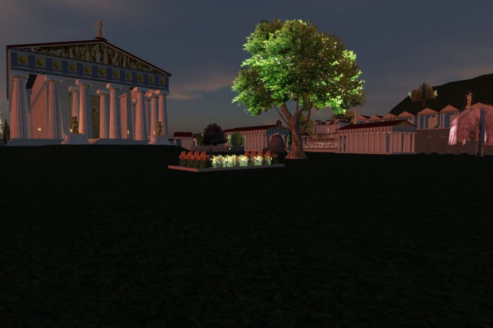View toward the Temple of Zeus at sunset