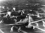 Japanese planes preparing for takeoff; photo from U. S. Navy History and Heritage Command collection