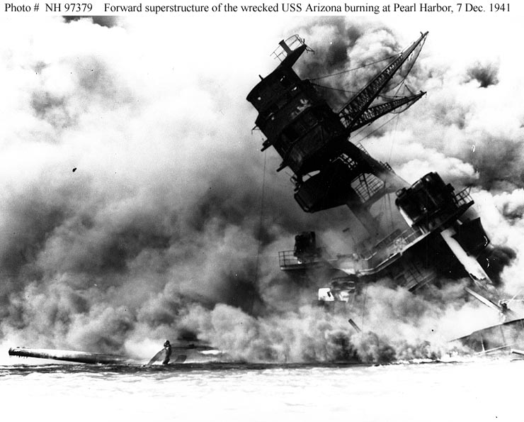 USS Arizona sinking following explosion of her magazine, 7 Dec 1941; photo from U. S. Navy History and Heritage Command collection