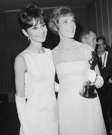 "Audrey Hepburn and Julie Andrews, 1965 -- the year of the ""great Eliza Doolittle flap,"" when the voters essentially snubbed Audrey's performance in ""My Fair Lady"" because Warner Brothers had the audacity to choose her instead of Julie, who originated the role.  Julie won the statue -- for ""Mary Poppins."""