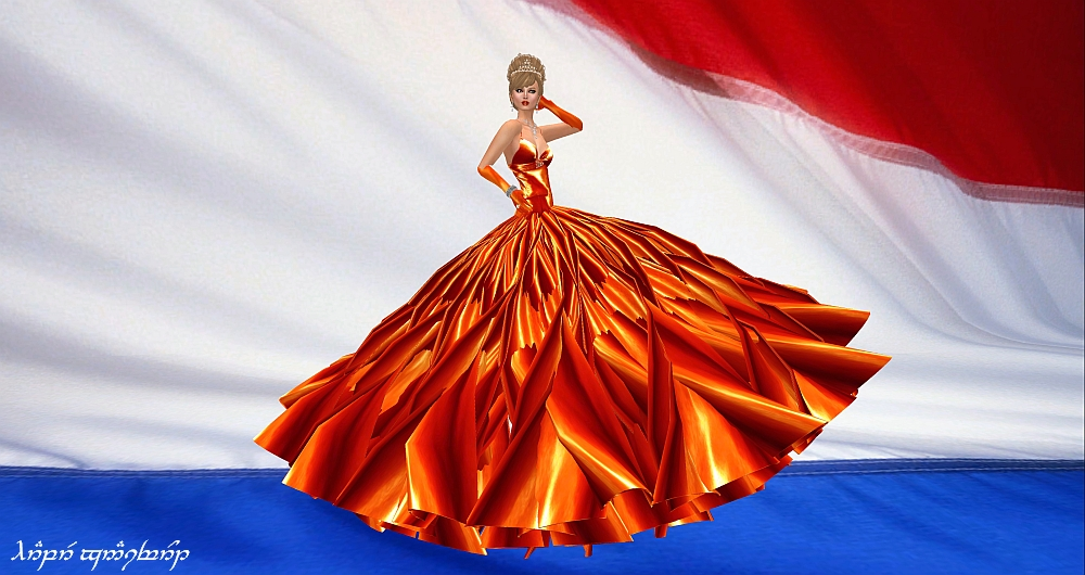 In salute to the inauguration of the new King and Queen of the Netherlands, her home country, Sascha Frangilli has created a new gown named Queen Máxima, in the orange of the Royal House.  It will be right in the front of the New Items section of Sascha's Designs, and at a very special price.