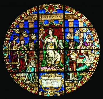 The Seven Liberal Arts -- stained glass window from the organ loft of the Knowles Memorial Chapel, Rollins College, Winter Park, Florida
