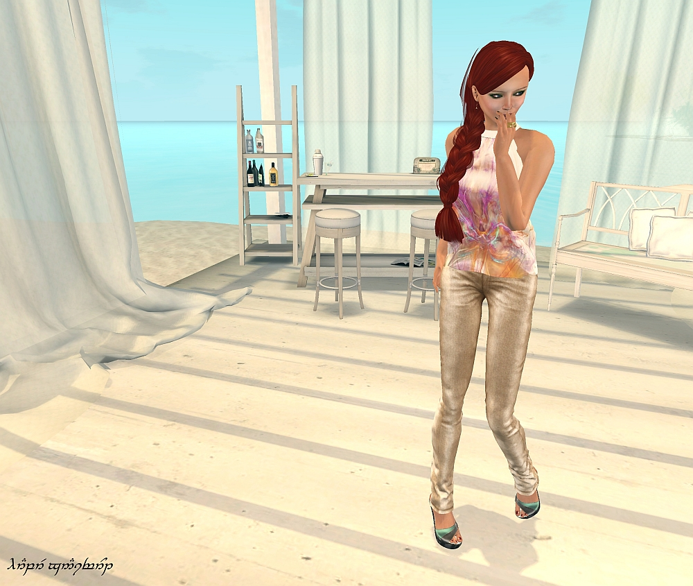 Color:  Swirl.  Along with each outfit, I'm wearing these HUD sandals from KoiKoi for SLink feet.  I didn't think to change the colors while I was shooting the photos; remembering to get the shadows turned back on for each pose was wrestle enough!
