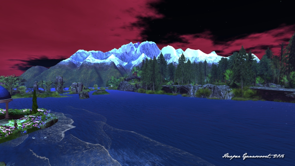 From the Grey Havens, looking toward the Misty Mountains, Calas Galadhon